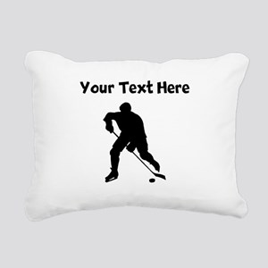 Hockey Player Silhouette Rectangular Canvas Pillow