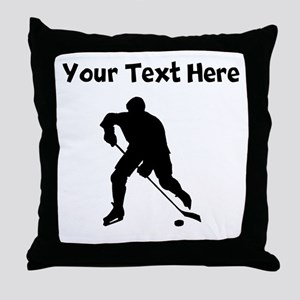 Hockey Player Silhouette Throw Pillow