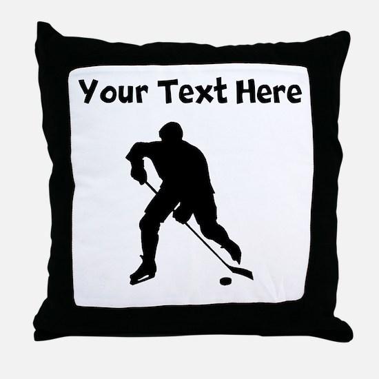 Hockey Player Silhouette Throw Pillow