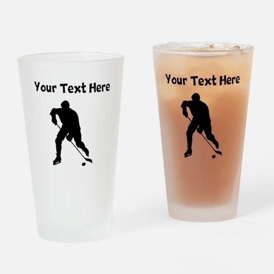 Hockey Player Silhouette Drinking Glass