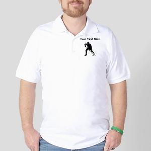 Hockey Player Silhouette Golf Shirt