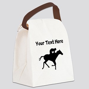 Horse Racing Silhouette Canvas Lunch Bag