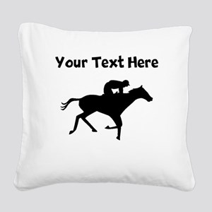 Horse Racing Silhouette Square Canvas Pillow