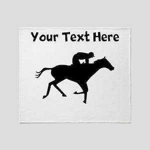 Horse Racing Silhouette Throw Blanket