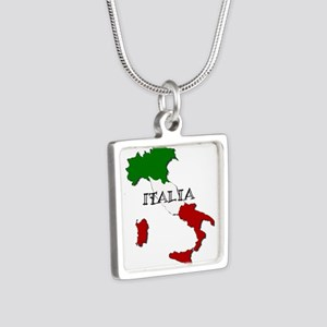 Italy Flag Map Silver Square Necklace