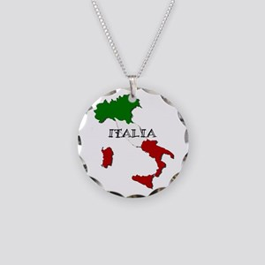 Italy Flag Map Necklace Circle Charm