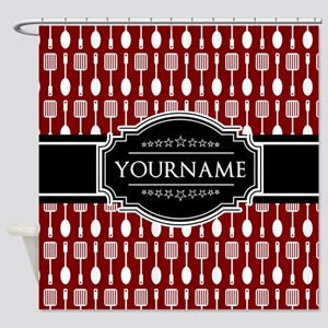 Black and Red Pattern Personalized Shower Curtain
