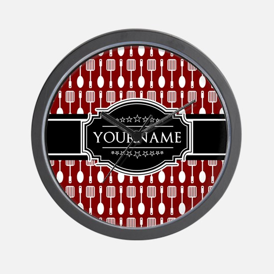 Black and Red Pattern Personalized Wall Clock