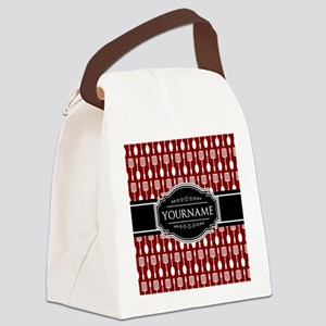 Black and Red Pattern Personalize Canvas Lunch Bag