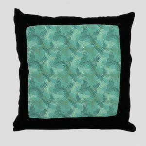 Teal Butterflies Throw Pillow