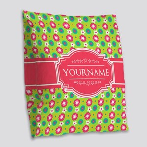 Personalized Green, Pink Flowe Burlap Throw Pillow