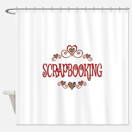 Scrapbooking Hearts Shower Curtain
