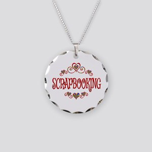 Scrapbooking Hearts Necklace Circle Charm