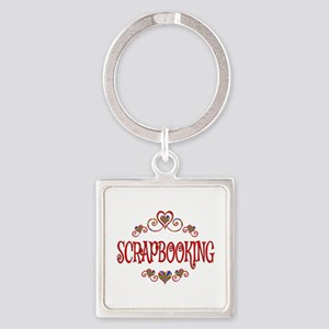 Scrapbooking Hearts Square Keychain