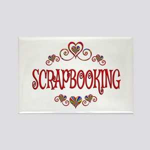 Scrapbooking Hearts Rectangle Magnet