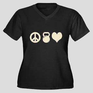 Peace Weight Women's Plus Size V-Neck Dark T-Shirt
