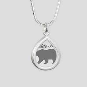 Daddy Bear Silver Teardrop Necklace