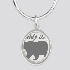 Daddy Bear Silver Oval Necklace