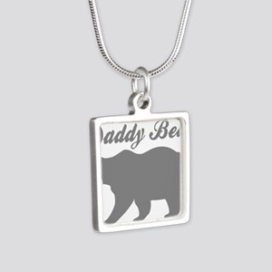 Daddy Bear Silver Square Necklace