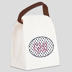 Gigi Navy and Pink - Pretty Polka Canvas Lunch Bag
