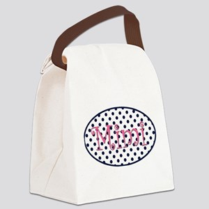 Mimi Navy and Pink Pretty Polka D Canvas Lunch Bag