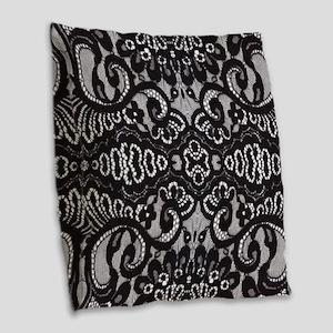 modern girly vintage lace Burlap Throw Pillow