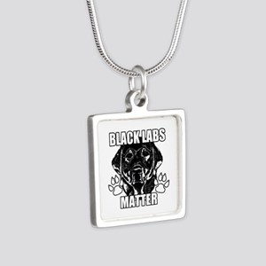 BLACK LABS MATTER 2 Silver Square Necklace
