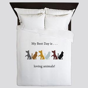 Best Day Cats and Dogs Gifts Queen Duvet