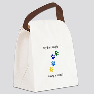 Best Day Loving Animals Paws Canvas Lunch Bag