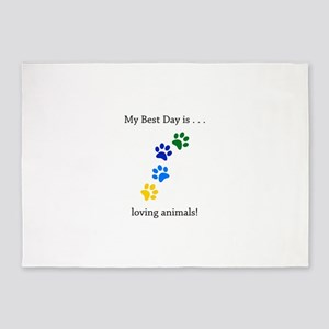 Best Day Loving Animals Paws 5'x7'Area Rug
