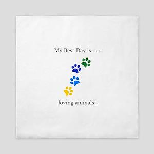 Best Day Loving Animals Paws Queen Duvet