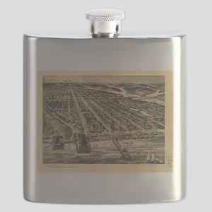 Vintage Pictorial Map of Asbury Park NJ (191 Flask