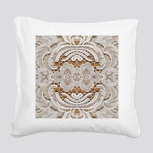 girly hipster vintage white l Square Canvas Pillow