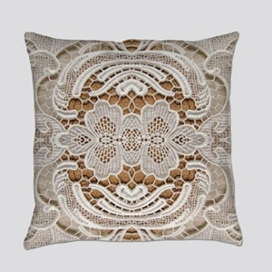 girly hipster vintage white lace  Everyday Pillow