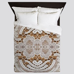girly hipster vintage white lace  Queen Duvet