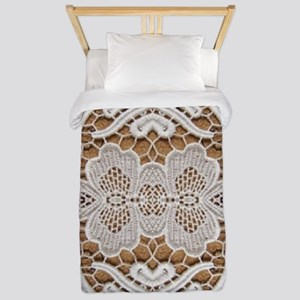 girly hipster vintage white lace  Twin Duvet