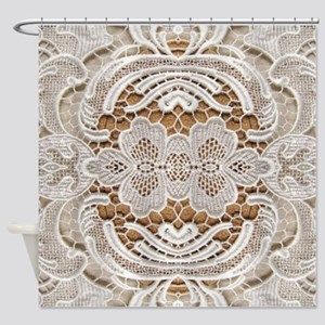 girly hipster vintage white lace  Shower Curtain