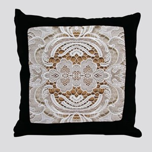 girly hipster vintage white lace  Throw Pillow