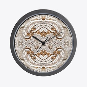 girly hipster vintage white lace  Wall Clock