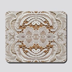 girly hipster vintage white lace  Mousepad