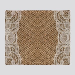 shabby chic burlap lace Throw Blanket