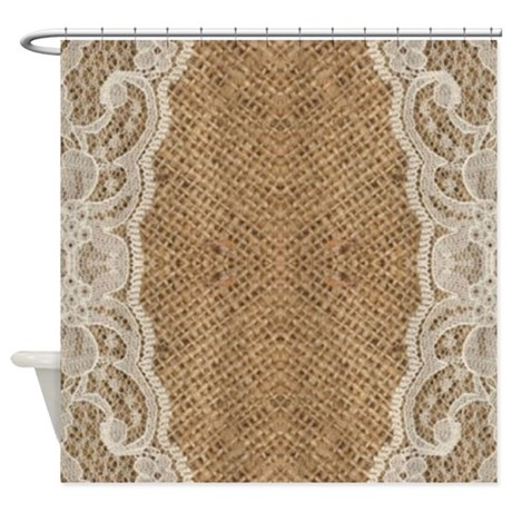 Shabby chic burlap lace shower curtain by listing store for Shabby chic rhinestone shower hooks