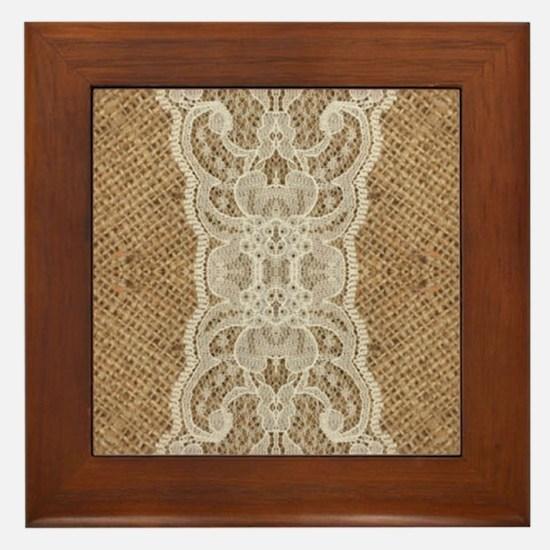 shabby chic burlap lace Framed Tile