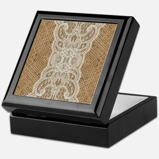 shabby chic burlap lace Keepsake Box