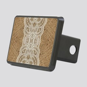shabby chic burlap lace Rectangular Hitch Cover