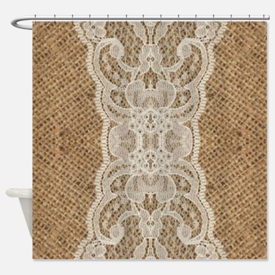 shabby chic burlap lace Shower Curtain