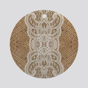 shabby chic burlap lace Round Ornament