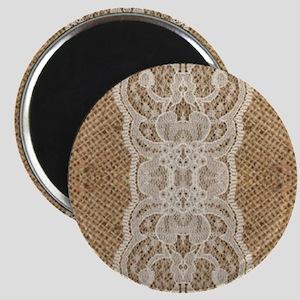 shabby chic burlap lace Magnet