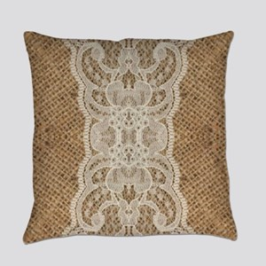 shabby chic burlap lace Everyday Pillow