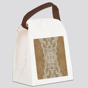shabby chic burlap lace Canvas Lunch Bag